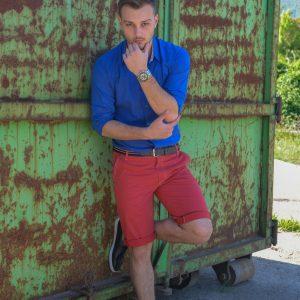 мъжки къси панталони, летни панталони, лято, червени къси панталони