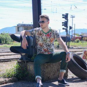 мъжки панталон, зелен, памучен, летни панталони, цветни мъжки панталони