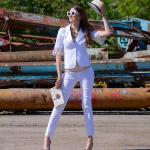 дамско сако, бяло, лятно, данттела