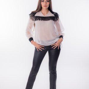 дамска блуза,бяла, шифон, дантела