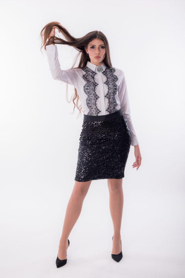 дамска риза, бяля, класическа, черна дантела
