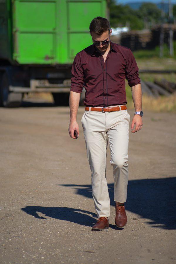 мъжки панталон, бежов, памучен, летни панталони, цветни мъжки панталони