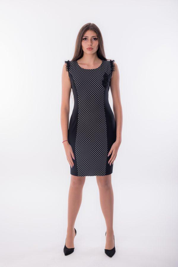 дамска рокля, бизнес, коктейлна, точки, вталена