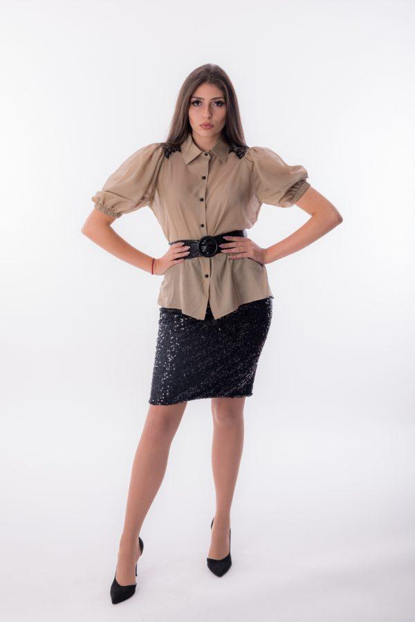дамска риза, бежова, къс, буфан ръкав
